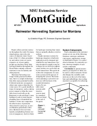 Montana Rainwater Harvesting Manual