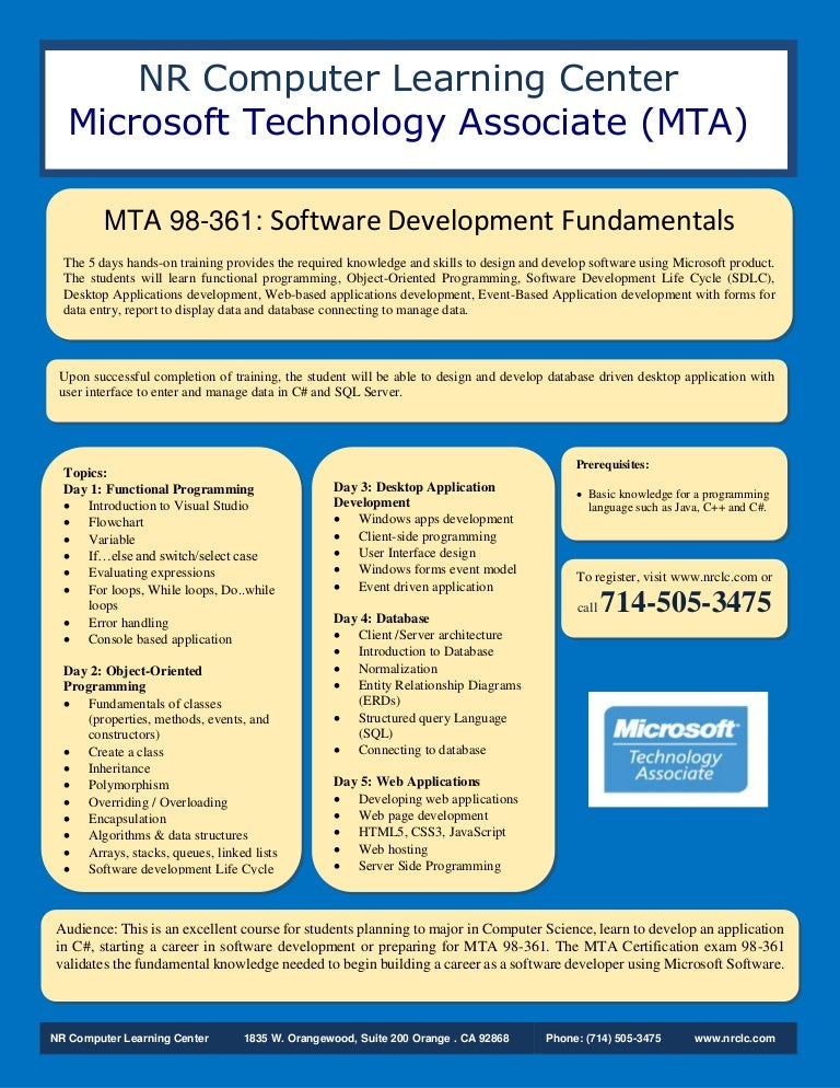 Mta 361 Software Development Fundamentals