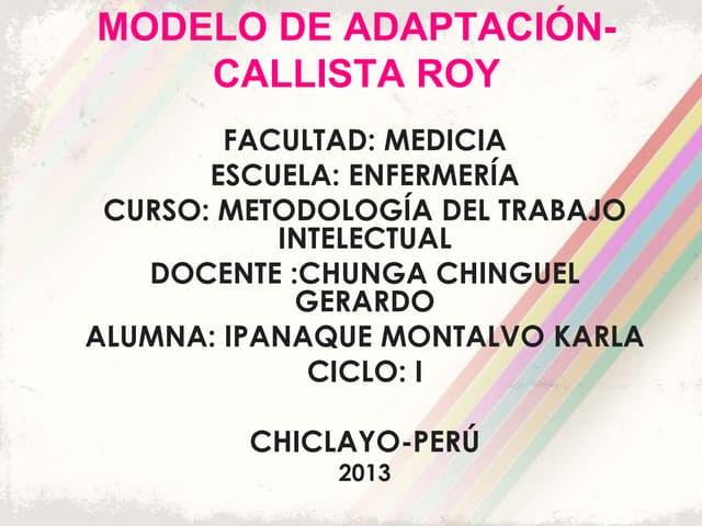 Callista Roy: Modelo de Adaptacion