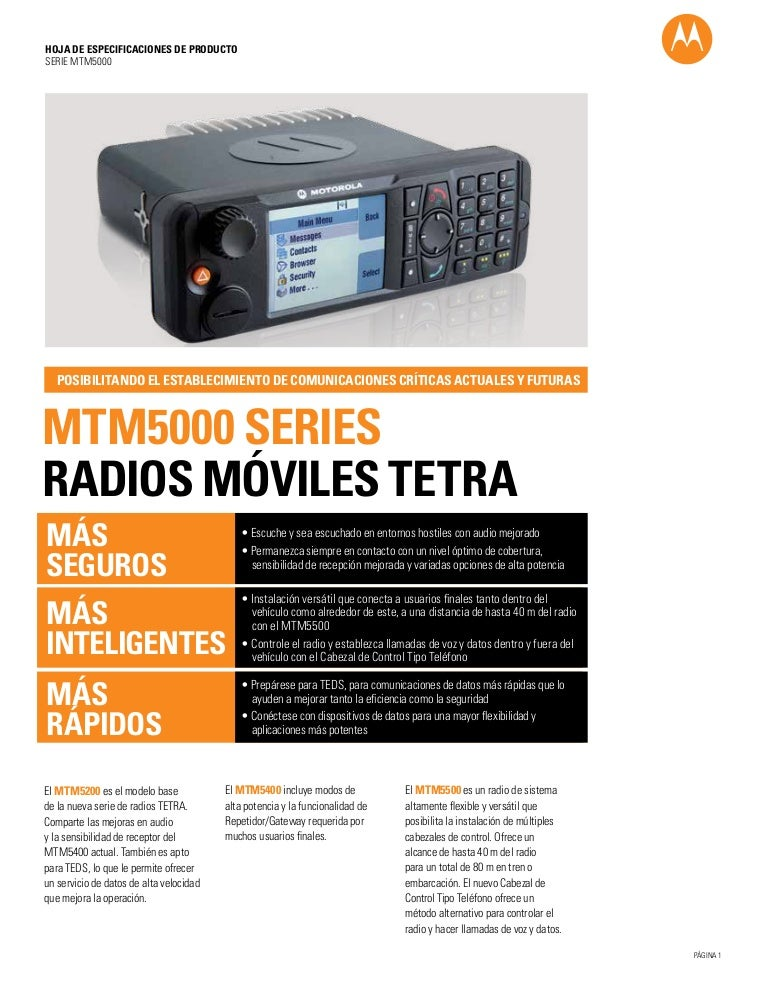 Mtm5000 series tetra mobile radios spec sheet (español)