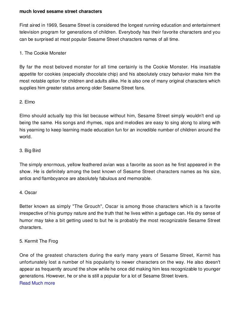 Beloved Sesame Street Characters Names