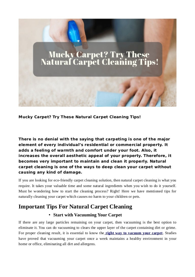Mucky Carpet Try These Natural Carpet Cleaning Tips