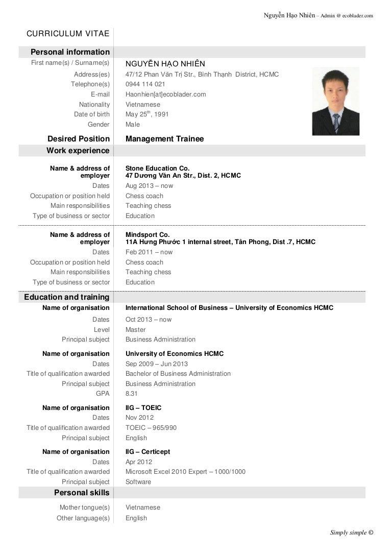 demo resume, demo cv, mucv ecoblader demo phpapp thumbnail demo cv