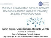 Multilevel Collaboration between Software Developers and the Impact of Proximity:an Early, Preliminary Work