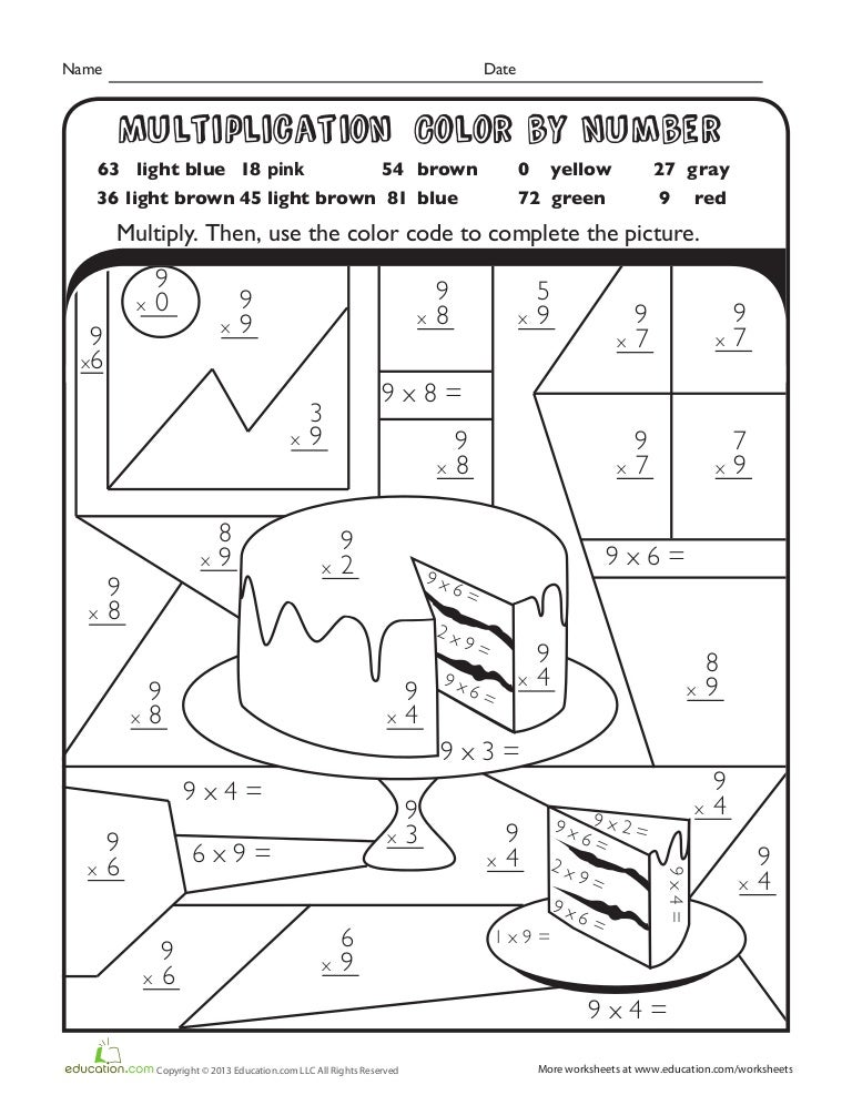 Multiplication color-number-cake