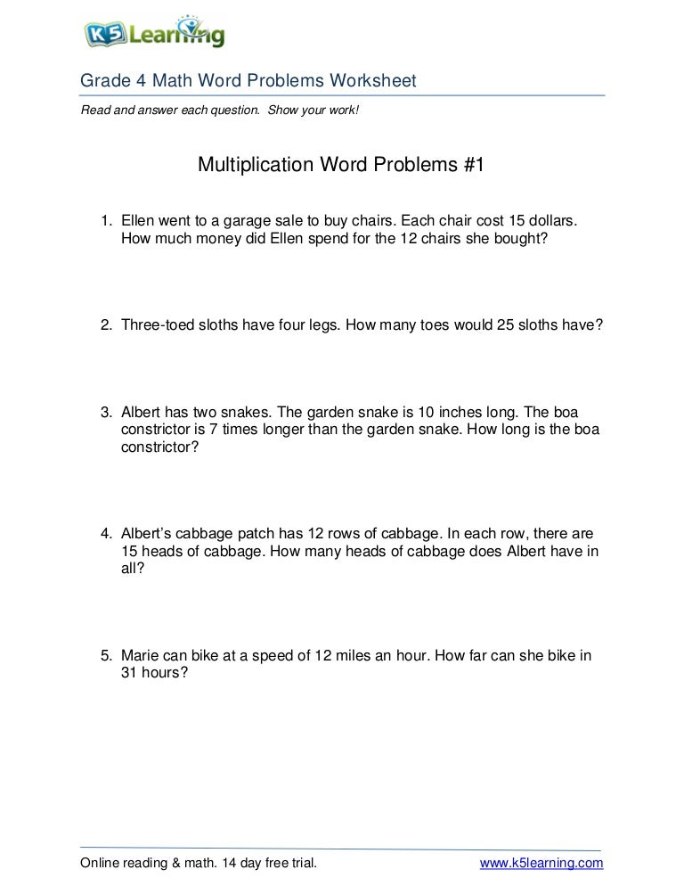 Multiplication wordproblems1 rgr4 – Work Problems Worksheet