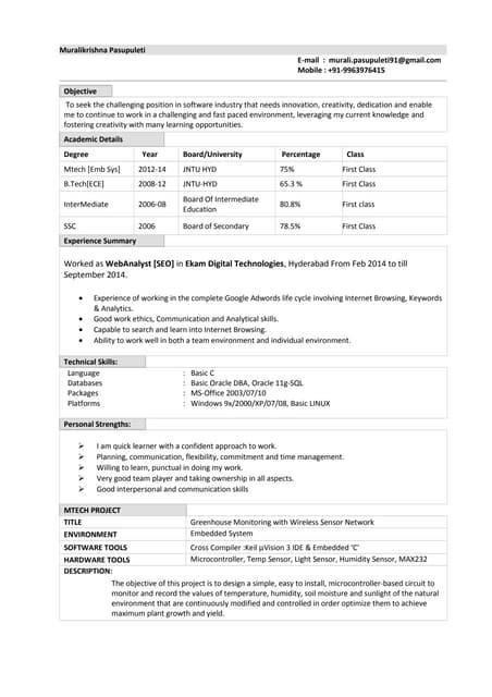 Satheesh Oracle DBA Resume