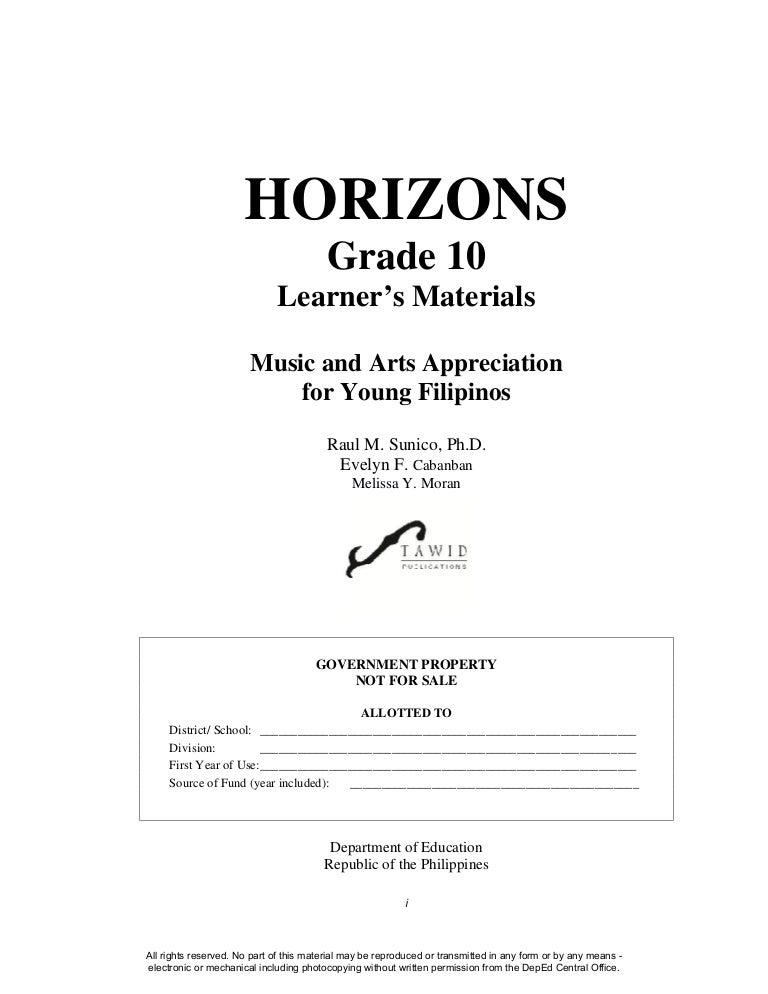 Music And Arts Gr 10 Learners Module Quarter 1 To 4 Complete