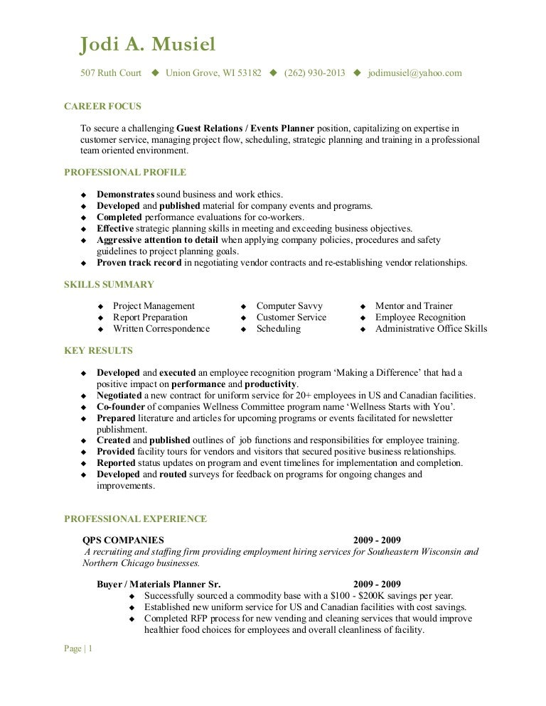 Musiel Jodi Resume Guest Relations .  Guest Services Resume