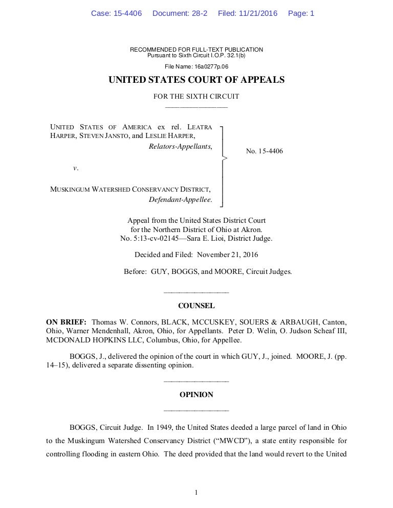 sixth circuit court of appeals decision in harper v muskingum watersh