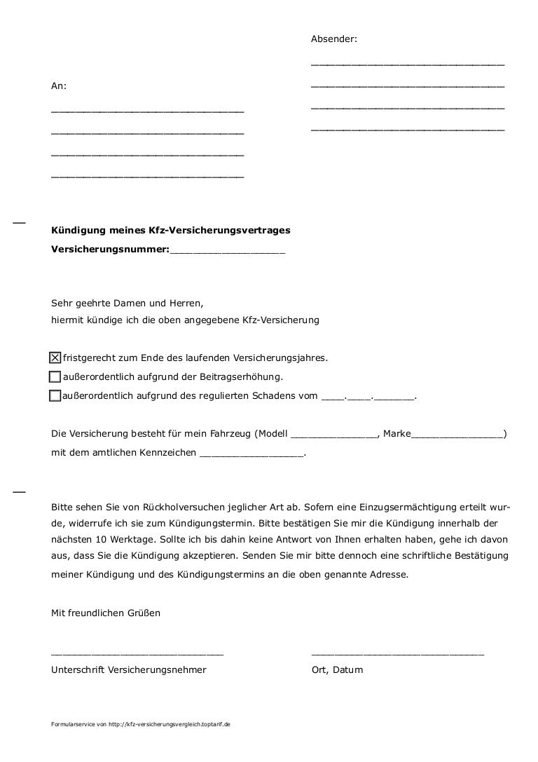 musterkndigung fr kfz versicherung von toptarifde - Kfz Versicherung Kndigen Muster
