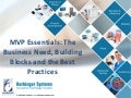 Mvp Essentials: The Business Need, Building Blocks and the Best Practices