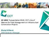 AF-1438: Transportation MUG: CCC's Use of Maximo for Fleet Management on Infrastructure Construction Projects