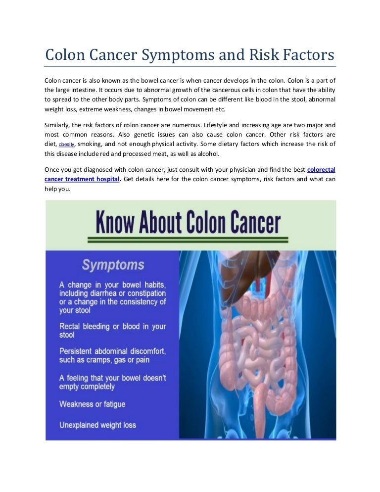 Colon Cancer Symptoms And Risk Factors