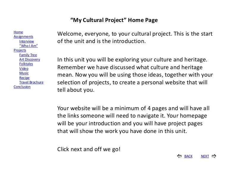 introduction page for project