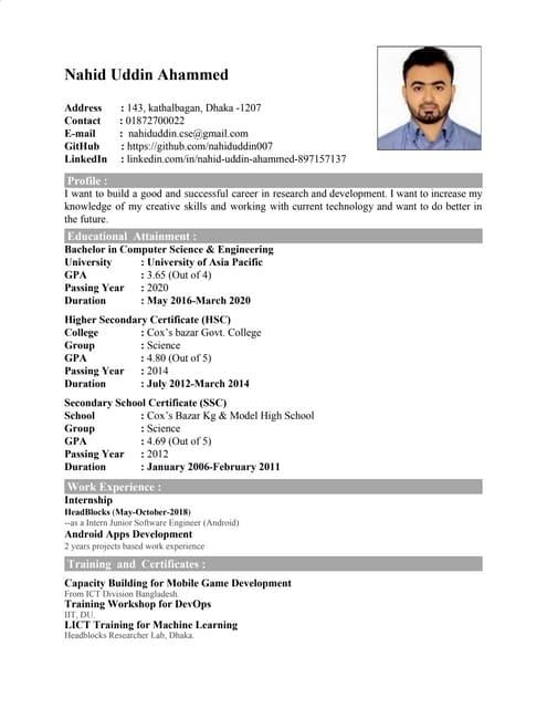 My CV (for job)