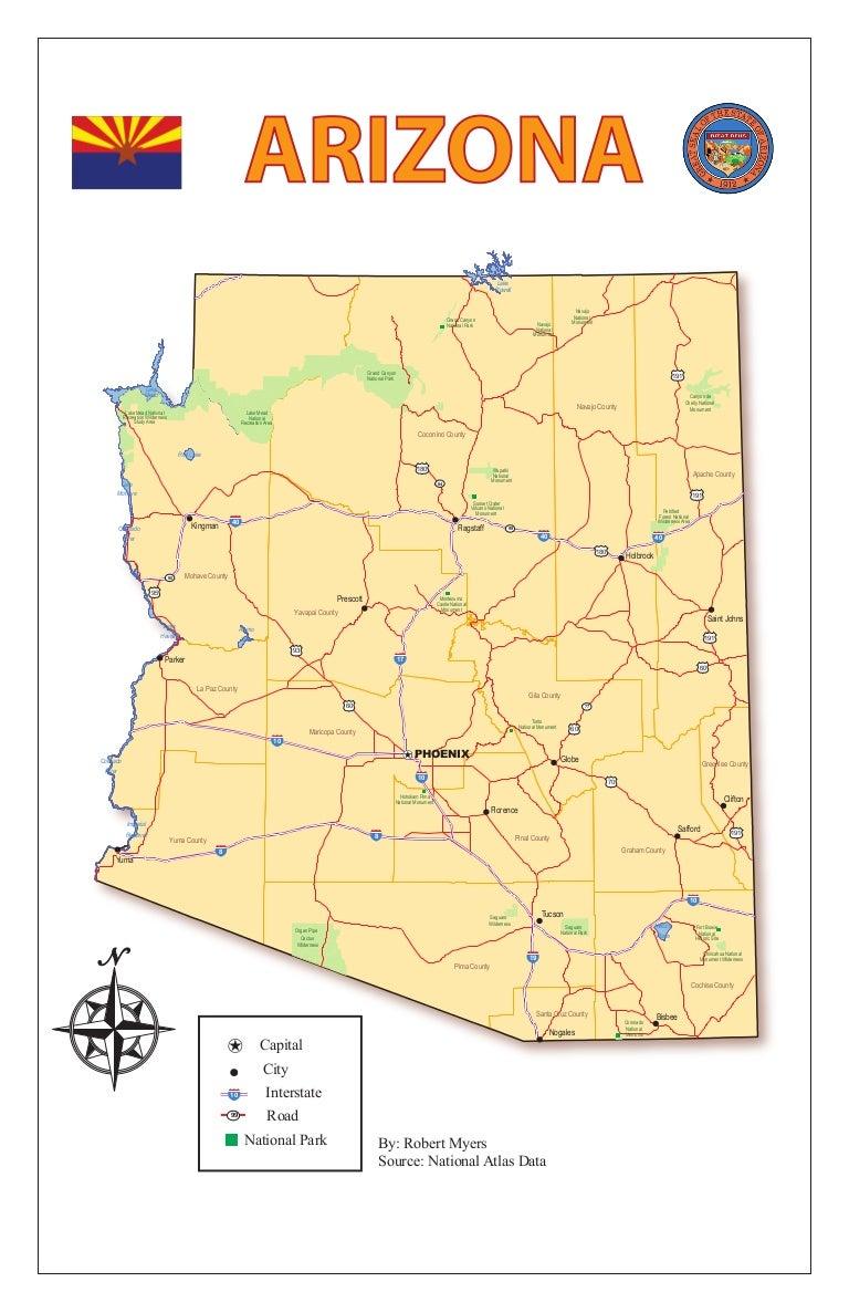 Map Of Arizona Kingman.Arizona Thematic Map