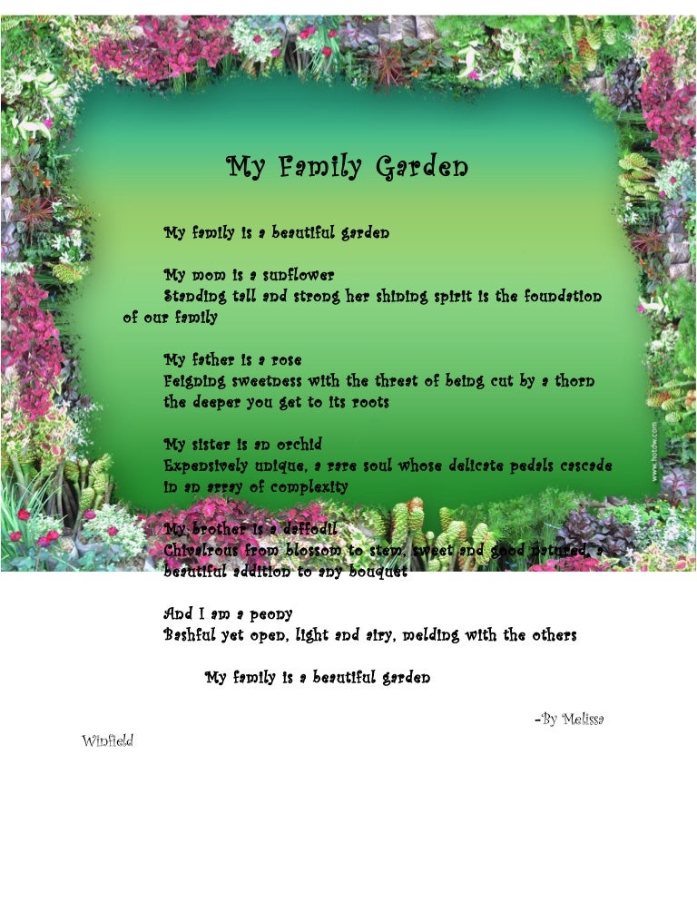 My Family Garden Extended Metaphor Poem