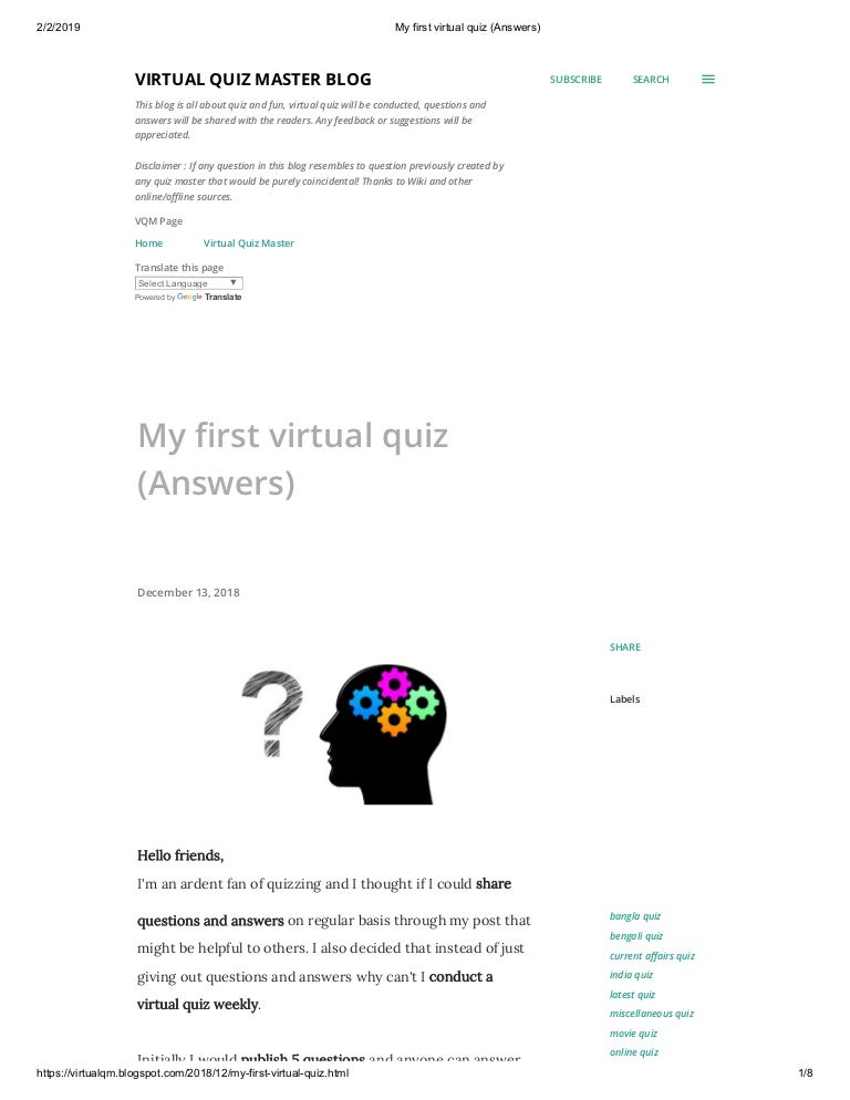 My first virtual quiz (answers)