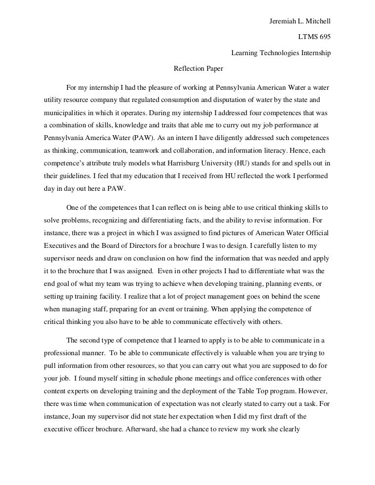 internship reflection paper essay madrat co internship reflection paper essay