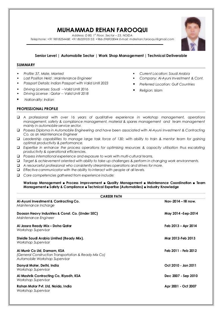 my resume md rehan farooqui