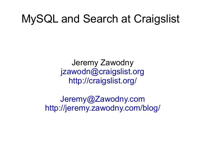 MySQL And Search At Craigslist