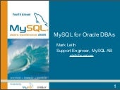 MySQL for Oracle DBAs