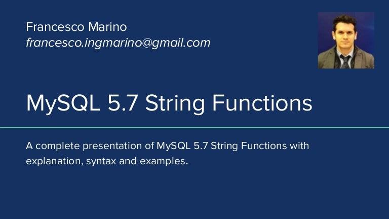MySQL 5 7 String Functions