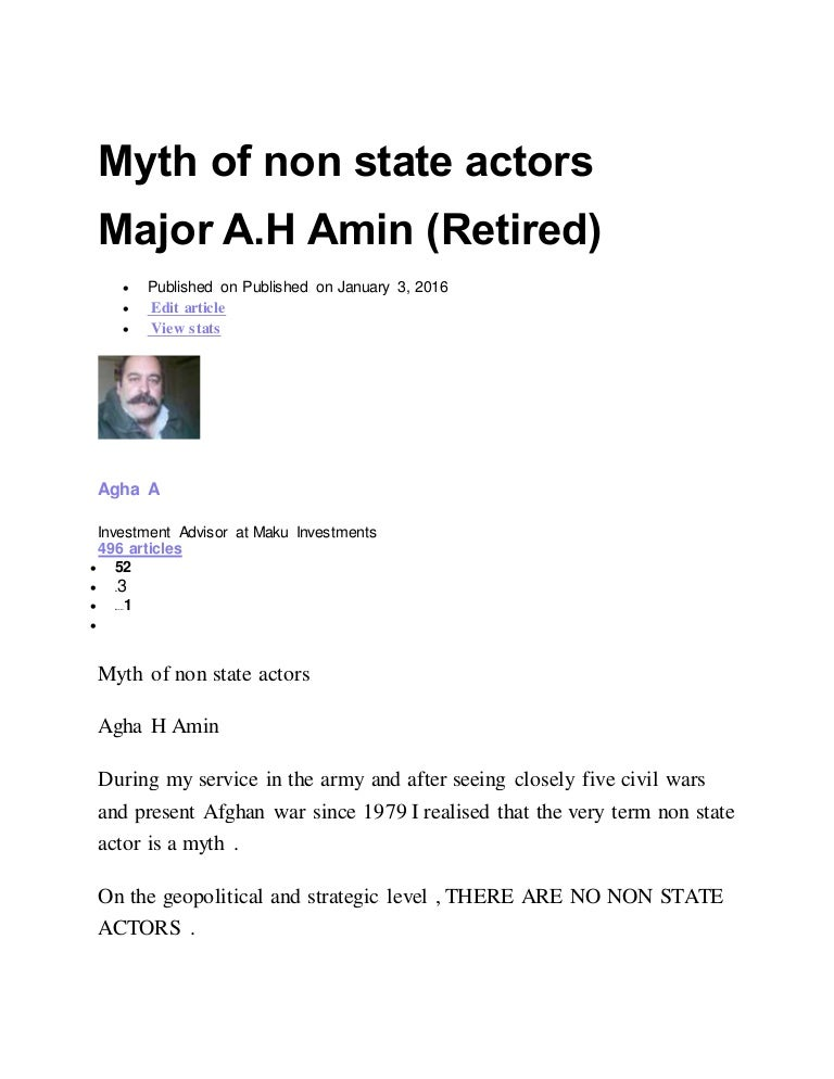 Myth of non state actors