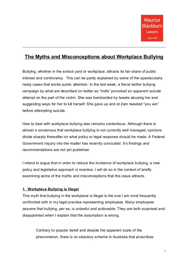 Myths And Misconceptions About Workplace Bullying Josh Bornstein