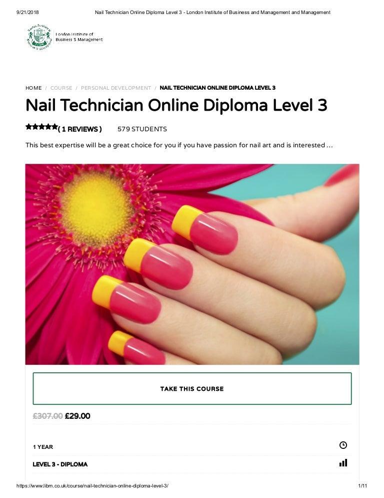 Nail Technician Online Diploma Level 3 Libm