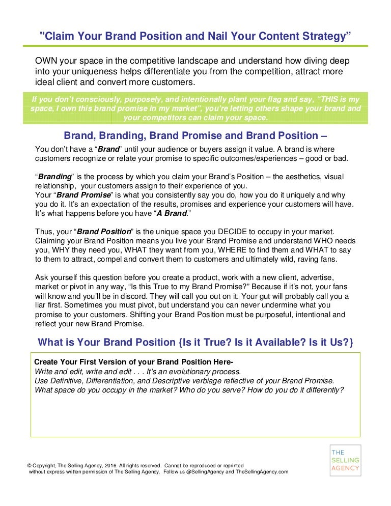 Brand Positioning and Content Strategy Worksheet