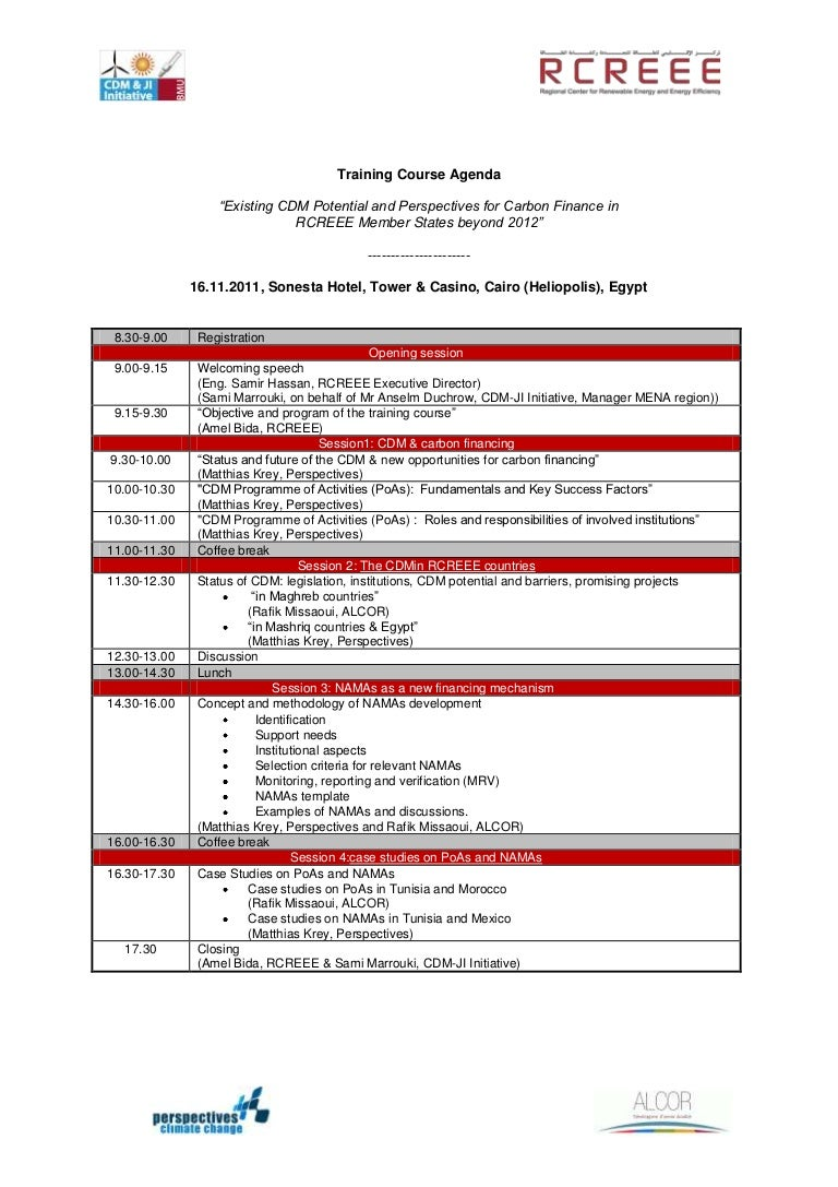Training course agenda en
