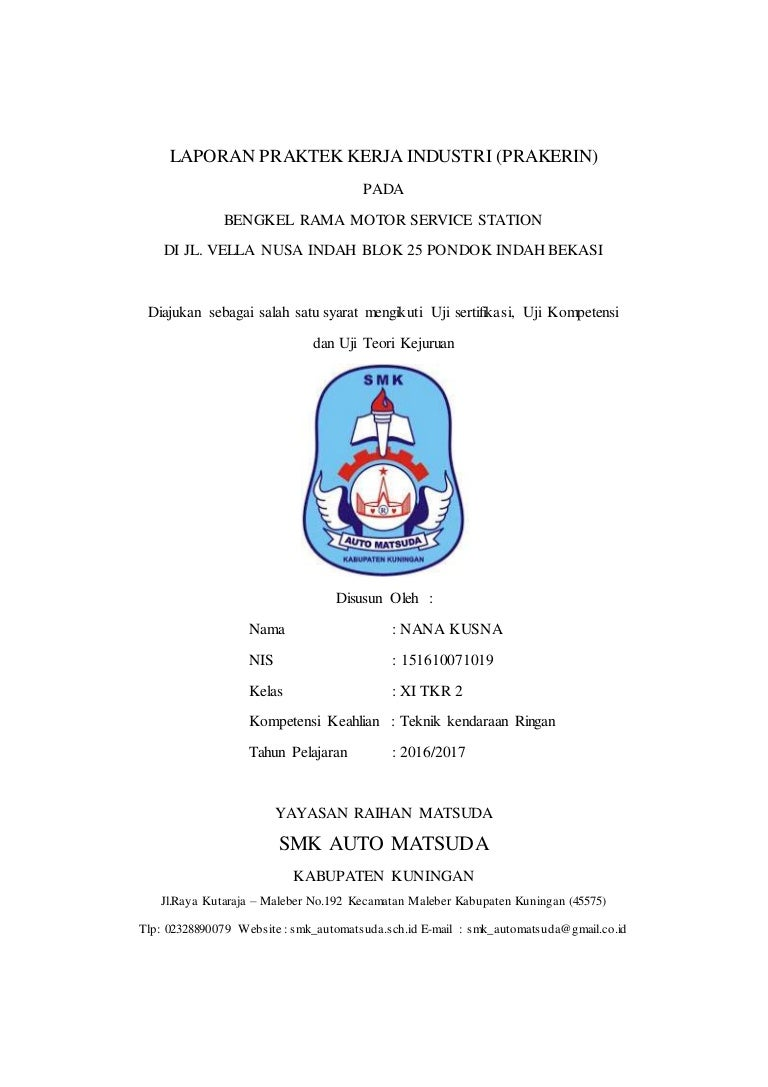 Contoh Laporan Pkl Smk Auto Matsuda Jurusan Tkr
