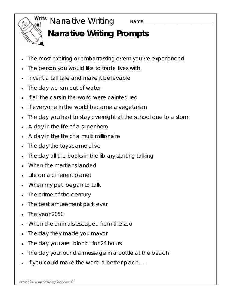 narrative writing prompts for middle school pdf