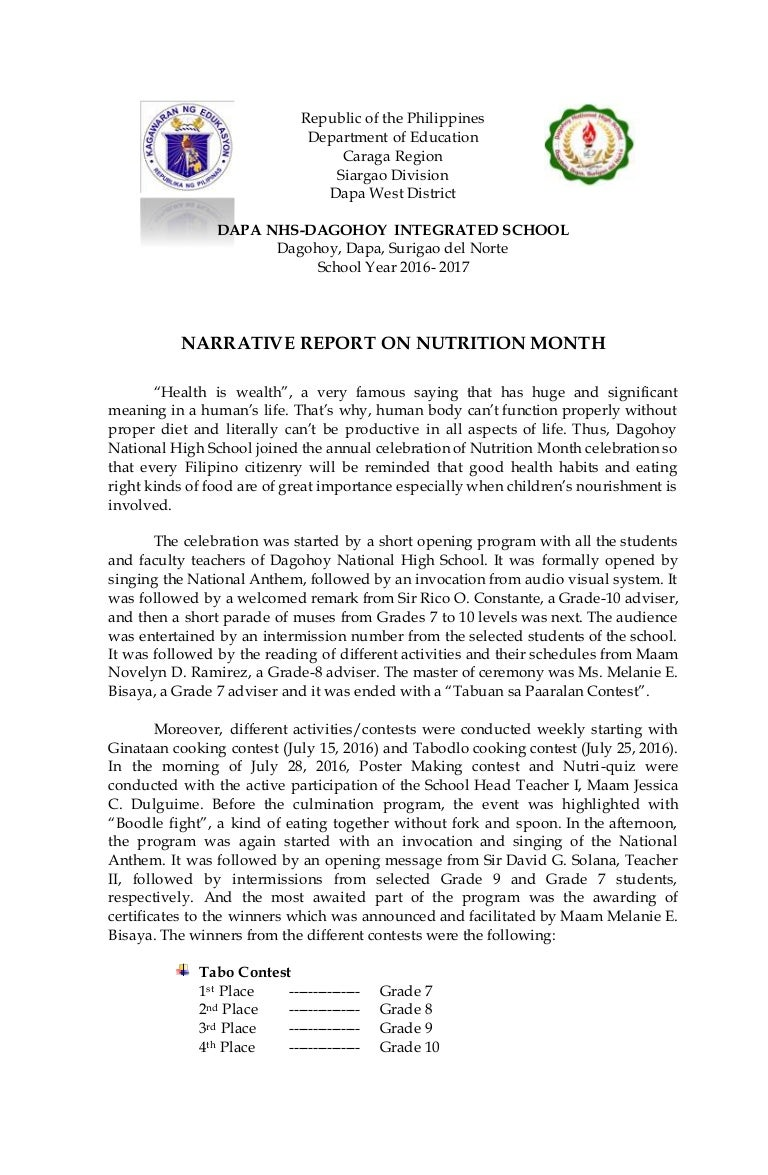 Narrative Report On Nutrition Month 2016