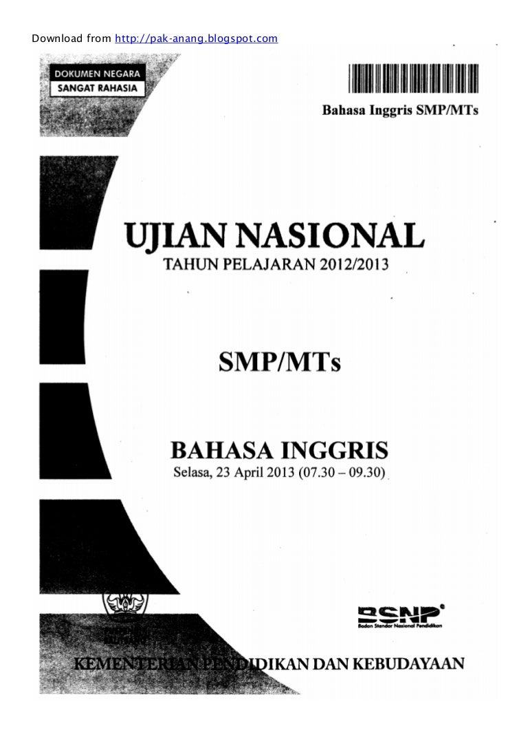 Naskah Soal Un Bahasa Inggris Smp 2013 Paket 1