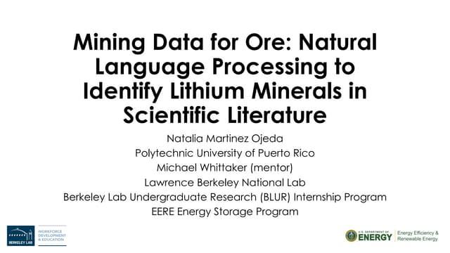 Mining Data for Ore: Natural Language Processing to Identify Lithium Minerals in Scientific Literature