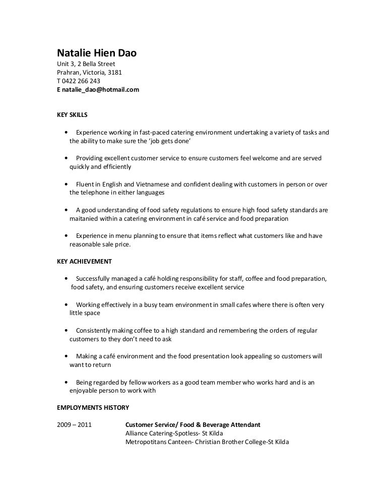 Natalie Hien Dao Resume For Food Service AssistantRtf