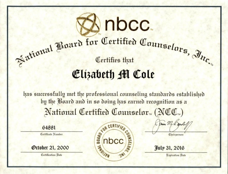 National Certified Counselor Ncc