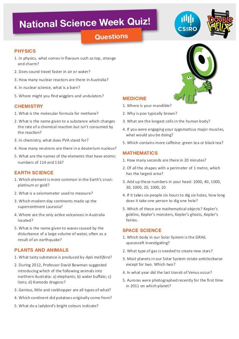 Workbooks solar system worksheets pdf : National science week quiz questions 2012
