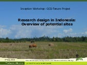Research design in Indonesia: Overview of potential sites