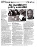Nation newspaper article   an Investment Policy Essential