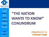 Nation wants to know conundrum