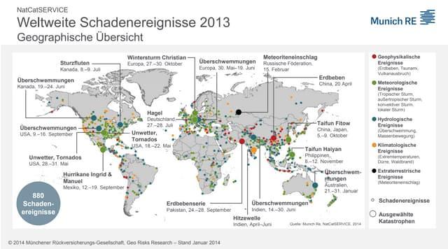 Weltkarte der Naturkatastrophen 2013