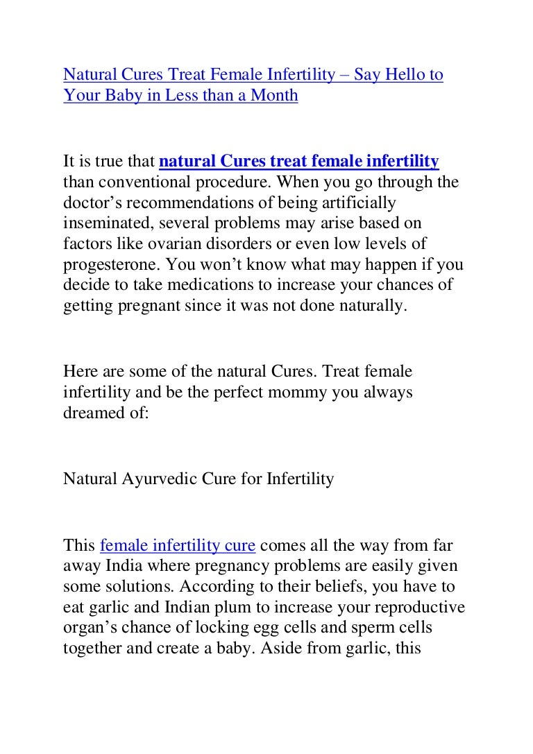Natural cures treat female infertility