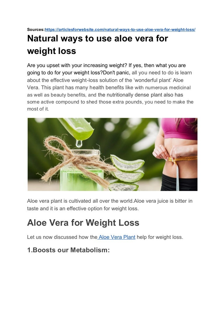 Natural Ways To Use Aloe Vera For Weight Loss