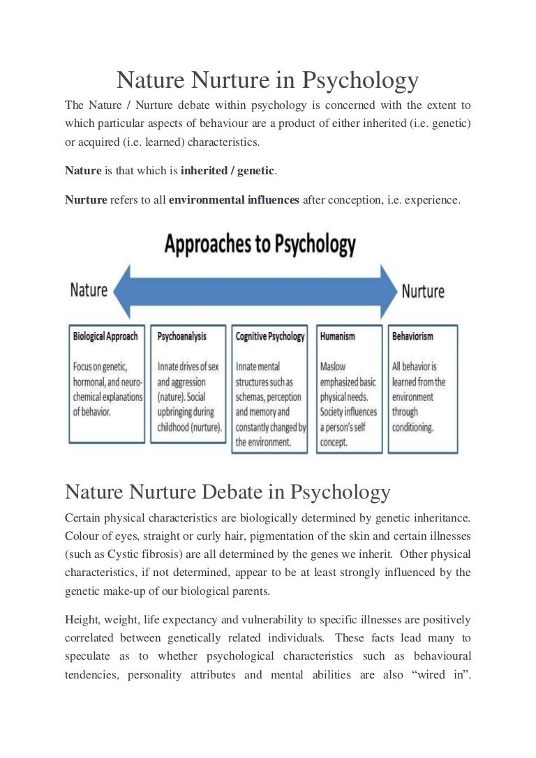 the psychological debate of nature vs nurture essay As psychological knowledge has deepened, the nature- nurture debate has grown increasingly complex, to the point where some psychologists believe that it is now a.