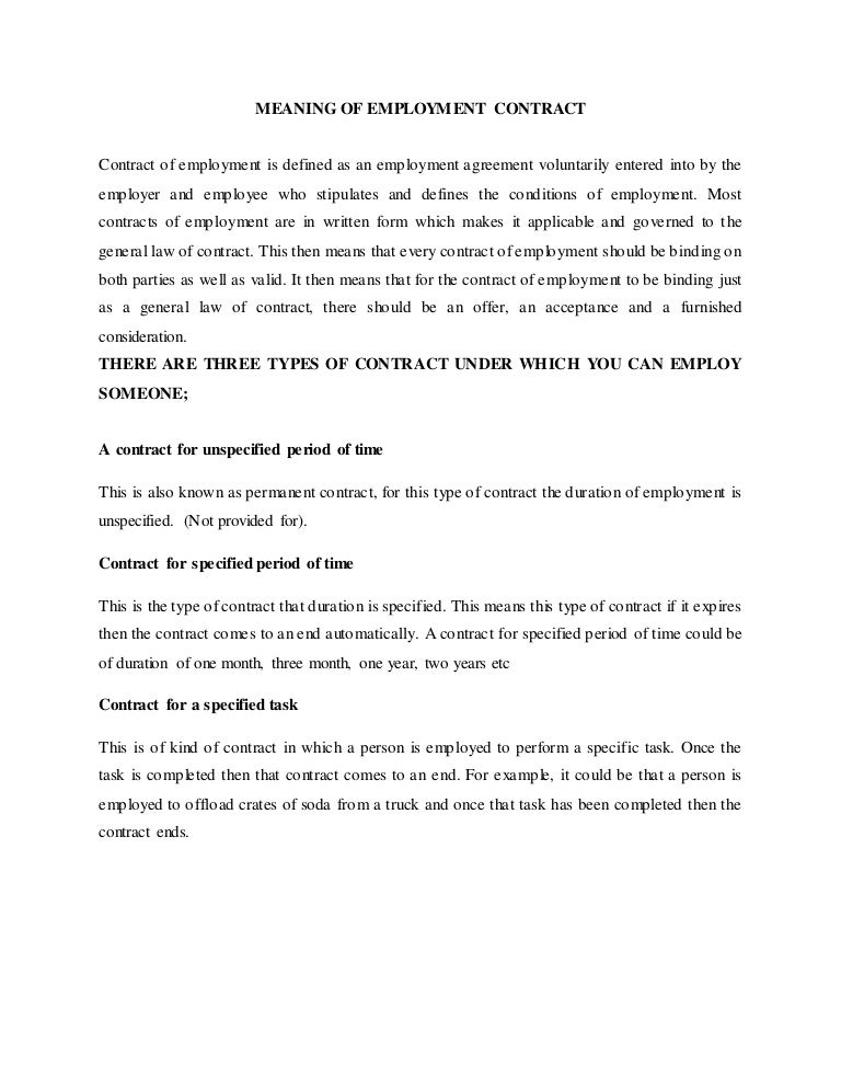 Employment Agreement Standard Employment Agreement Template
