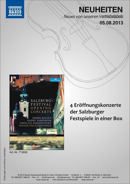 Blu-ray, DVD- und CD-Neuheiten August 2013 Nr. 1 (Im Vertrieb der NAXOS Deutschland GmbH)